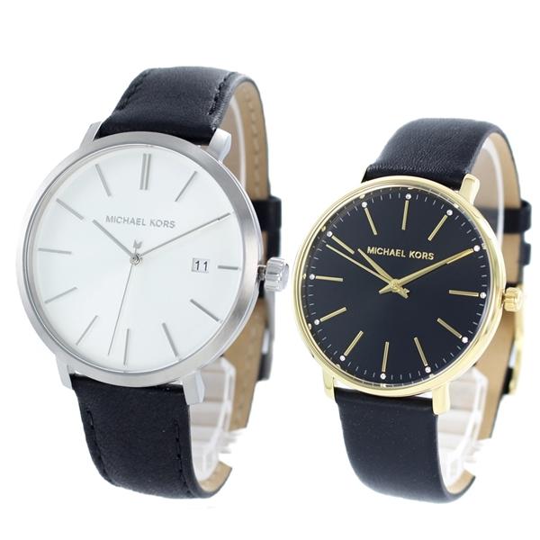 【ペア収納ケース付】マイケルコース 時計 ペアウォッチ 2本セット 腕時計 ブレイク/パイパー ブラック レザー 革ベルト MK8674MK2747 ブランド カップル 男女 ペアセット 誕生日 お祝い プレゼント ギフト