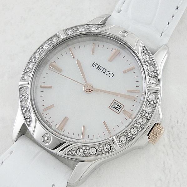 セイコー 時計 レディース 腕時計 シェル文字盤 スワロフスキー ホワイトレザー 革ベルト SUR871 ビジネス 女性 ブランド 時計 誕生日 お祝い プレゼント ギフト お洒落