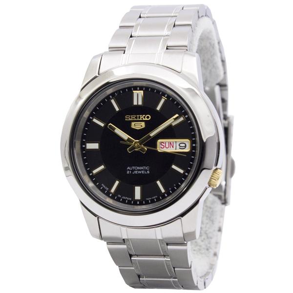 逆輸入 セイコー 時計 メンズ 腕時計 SEIKO5 自動巻き デイデイト ブラック シルバー ステンレス SNKK17J1 ビジネス 男性 ブランド 時計 【仕事用】 誕生日 お祝い プレゼント ギフト お洒落