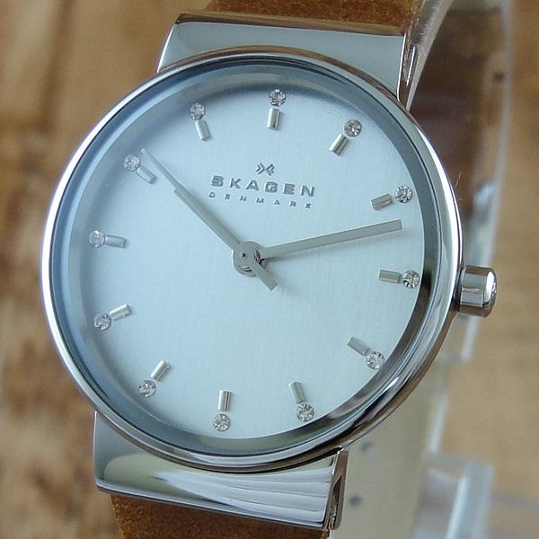 【アウトレット】スカーゲン 時計 レディース 腕時計 シルバー クリスタル ブラウンレザー SKW2192 ビジネス 女性 ブランド 時計 【仕事用】 誕生日 お祝い プレゼント ギフト お洒落