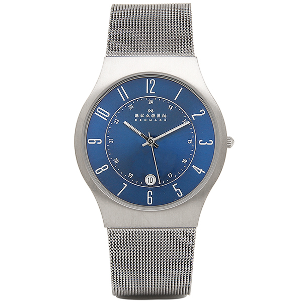 スカーゲン 時計 メンズ レディース ユニセックス 腕時計 クオーツ スリム チタン メッシュブレスレット ブルー文字盤 233XLTTN 誕生日 お祝い プレゼント ギフト お洒落