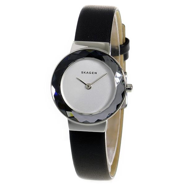 スカーゲン 時計 レディース 腕時計 クオーツ LEONORA ステンレス シルバー ホワイト文字盤 ファセットカット ブラックレザーストラップ SKW2428 誕生日 お祝い プレゼント ギフト