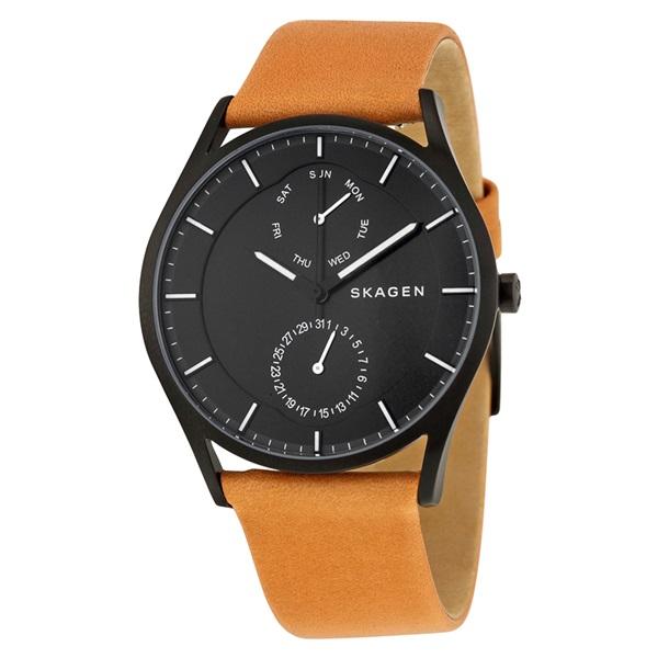 スカーゲン 時計 メンズ 腕時計 ホルスト マルチファンクション ブラック文字盤 ブラウンレザー SKW6265 ビジネス 男性 ブランド 時計 誕生日 お祝い プレゼント ギフト