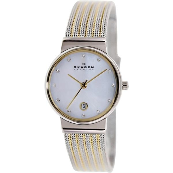 スカーゲン 時計 レディース 腕時計 シェル文字盤 スワロフスキー シルバー イエローゴールド 355SSGS ビジネス 女性 ブランド 誕生日 お祝い プレゼント ギフト お洒落
