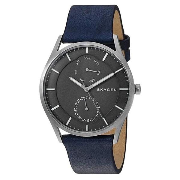 スカーゲン 時計 メンズ 腕時計 HOLST ホルスト マルチファンクション シルバーケース グレー文字盤 ブルー レザー SKW6448 ビジネス 男性 ブランド 誕生日 お祝い プレゼント ギフト お洒落