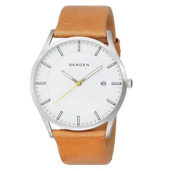 スカーゲン 時計 メンズ 腕時計 ホルスト 40mm ホワイト ライトブラウン レザー 革 SKW6282 ビジネス 男性 ブランド 時計 【仕事用】 誕生日 お祝い プレゼント ギフト お洒落