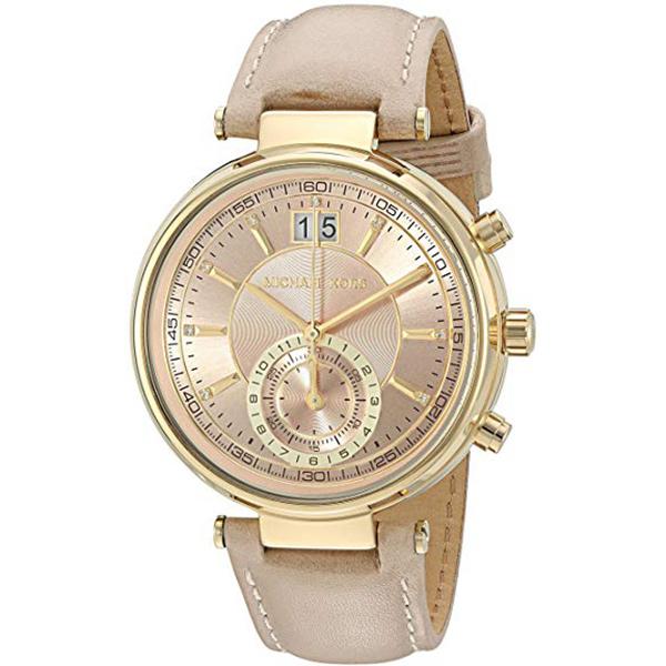 マイケルコース 時計 レディース 腕時計 SAWYER ソーヤー クロノグラフ ゴールドケース ライトピンク レザー MK2529 ビジネス 女性 ブランド 時計 誕生日 お祝い プレゼント ギフト お洒落