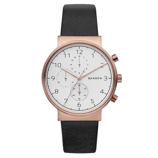 スカーゲン 時計 メンズ 腕時計 アンカー クロノグラフ ローズゴールド ブラックレザー 黒 SKW6371 ビジネス 男性 ブランド 時計 【仕事用】 誕生日 お祝い プレゼント ギフト お洒落