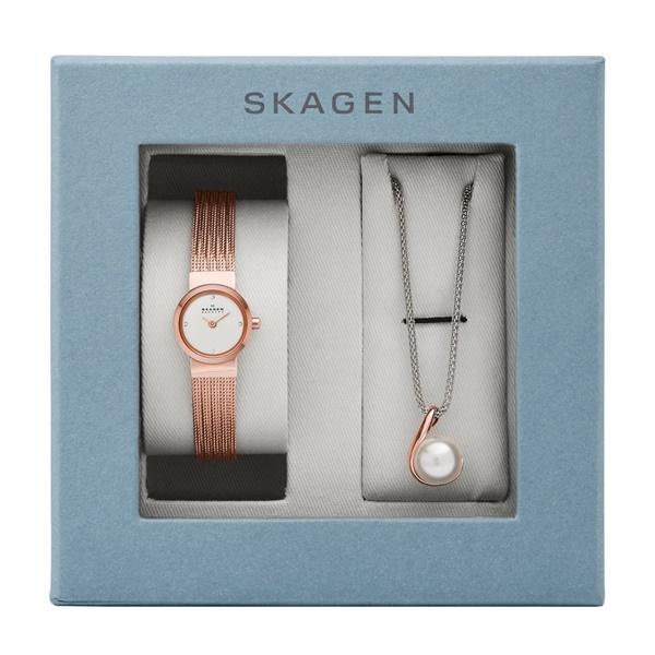 スカーゲン レディース 腕時計 ネックレス付き ギフトセット 小ぶり エレガント 女性 プレゼントに ローズゴールド SKW1067 ビジネス 女性 ブランド 誕生日 お祝い プレゼント ギフト お洒落