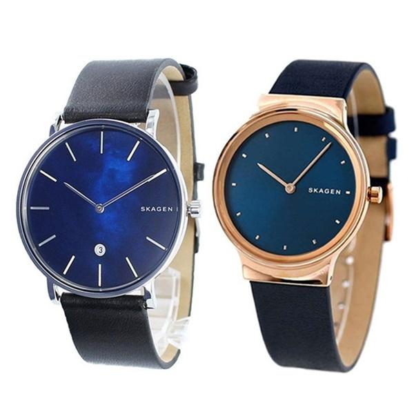 【ペアBOX付き】プレゼントにおすすめ!SKAGEN スカーゲン 腕時計 ペアウォッチ メンズ レディース 青 時計 レザー SKW6471SKW2706 ブランド 男女 カップル ペアセット 誕生日 お祝い プレゼント ギフト