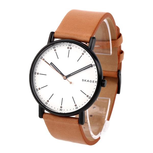 新作 スカーゲン 時計 メンズ 腕時計 シグネチャー ライトブラウン レザー SKW6352 ビジネス 男性 ブランド 時計 誕生日 お祝い プレゼント ギフト