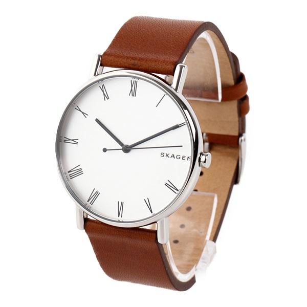 新作 スカーゲン 時計 メンズ 腕時計 シグネチャー 40mm シルバーケース ブラウン レザー SKW6427 ビジネス 男性 ブランド 時計 誕生日 お祝い プレゼント ギフト