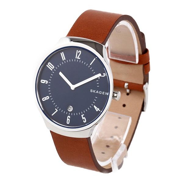スカーゲン 時計 メンズ 腕時計 GRENEN グレーネン シルバーケース ネイビー文字盤 ブラウン レザー SKW6457 ビジネス 男性 ブランド 誕生日 お祝い プレゼント ギフト お洒落