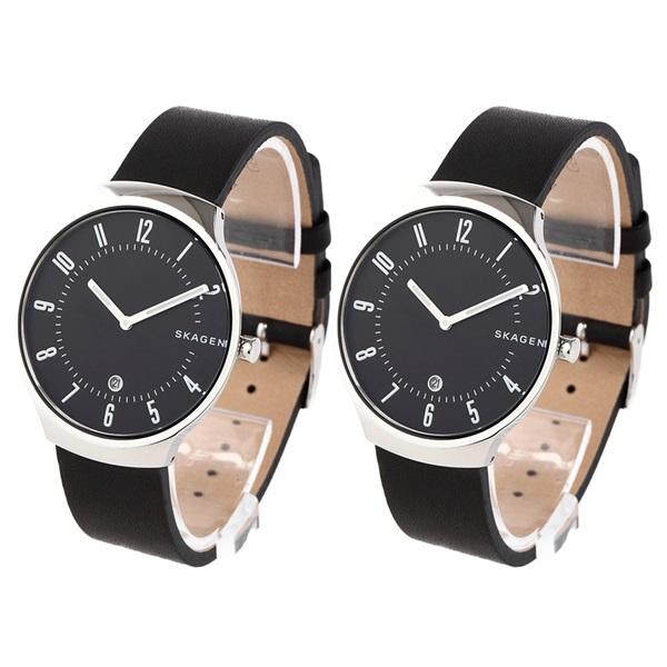 スカーゲン ペアウォッチ シェア 腕時計 GRENEN グレーネン シルバーケース ブラック レザー お揃い 2本セット SKW6459SKW6459 ブランド 男女 カップル ペアセット 誕生日 お祝い プレゼント ギフト お洒落