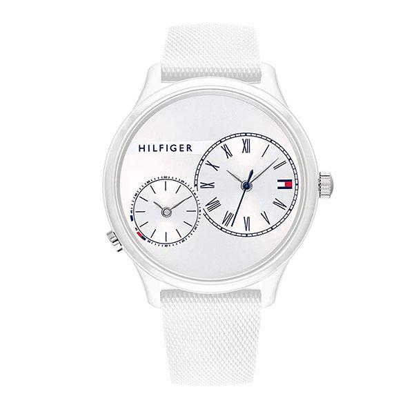 トミーヒルフィガー 時計 メンズ レディース ボーイズサイズ 腕時計 Meg メグ デイデイト 33ミリ シルバー ホワイト シリコン 1782145 ビジネス 男性 女性 ブランド 時計 誕生日 お祝い プレゼント ギフト