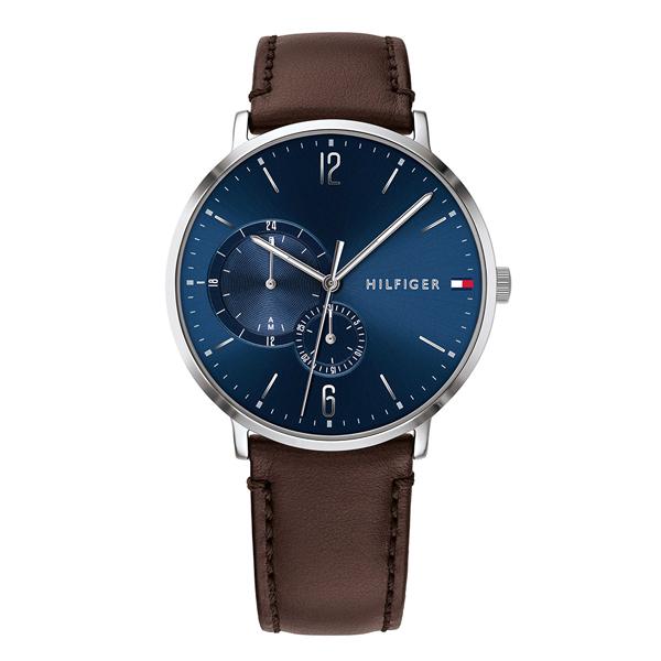 トミーヒルフィガー 腕時計 メンズ マルチファンクション シルバーケース ブルー×ダークブラウン レザー 革ベルト 1791508 ビジネス 男性 ブランド 時計 誕生日 お祝い プレゼント ギフト