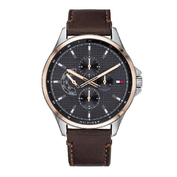 TOMMY HILFIGER トミーヒルフィガー 時計 メンズ 腕時計 Shawn ショーン デイデイト 44ミリ ピンクゴールド&シルバー ダークブラウン レザー 革ベルト 1791615 ビジネス 男性 ブランド 時計 誕生日 お祝い プレゼント ギフト