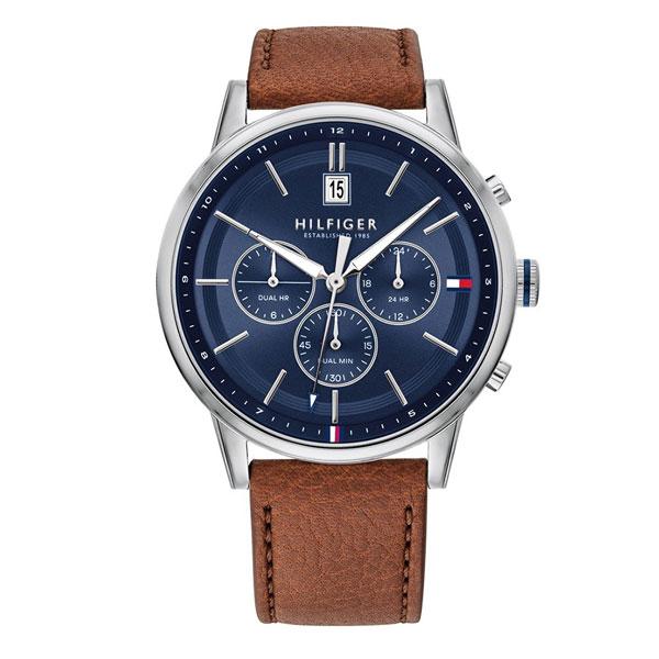 TOMMY HILFIGER トミーヒルフィガー 時計 メンズ 腕時計 Kyle カイル デュアルタイム 44ミリ シルバー ネイビー ブラウン レザー 革ベルト 1791629 ビジネス 男性 ブランド 時計 誕生日 お祝い プレゼント ギフト