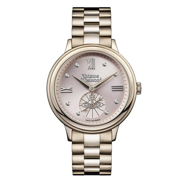 【キャッシュレス5%還元】ヴィヴィアン ウエストウッド 時計 レディース 腕時計 スモールセコンド ピンクゴールド文字盤 ゴールド ステンレス VV158PKNU ビジネス 女性 ブランド 時計 誕生日 お祝い プレゼント ギフト