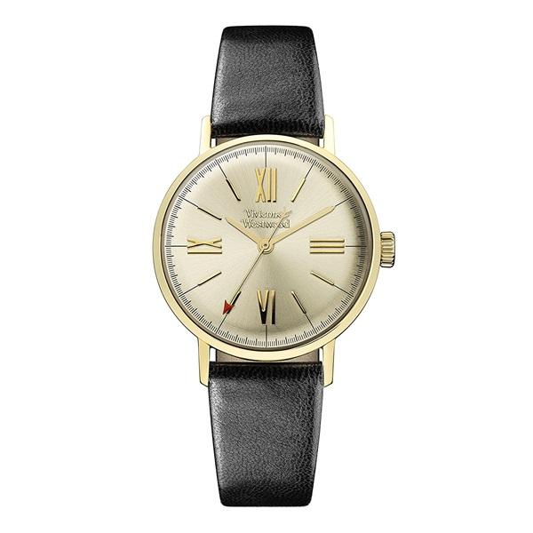 【キャッシュレス5%還元】ヴィヴィアン ウエストウッド 時計 レディース 腕時計 ゴールド文字盤 ブラック レザー VV170GYBK ビジネス 女性 ブランド 時計 誕生日 お祝い プレゼント ギフト