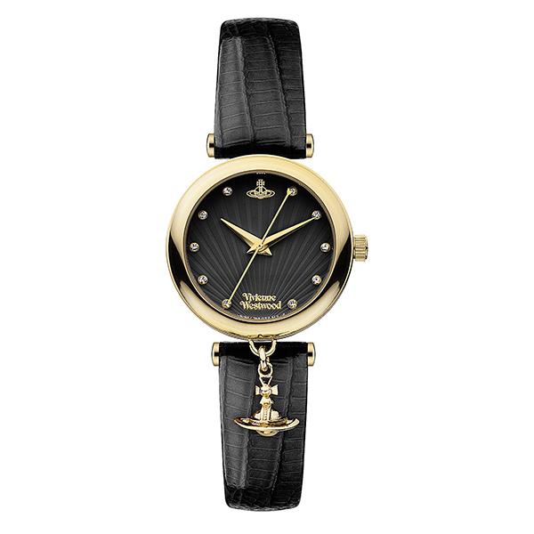 ヴィヴィアン ウエストウッド 時計 レディース 腕時計 ゴールドケース トラファルガー ブラック レザー ラインストーン オーブチャーム VV108BKBK ビジネス 女性 ブランド 時計 誕生日 お祝い クリスマスプレゼント ギフト お洒落
