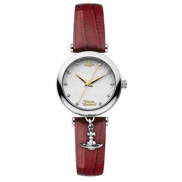 ヴィヴィアン ウエストウッド 時計 レディース 腕時計 トラファルガー シルバーケース レッド レザー ラインストーン オーブチャーム VV108WHRD ビジネス 女性 ブランド 時計 誕生日 お祝い プレゼント ギフト