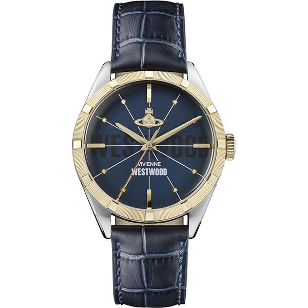 ヴィヴィアン ウエストウッド 時計 メンズ 腕時計 CONDUIT コンジット ゴールド シルバーケース ネイビー レザー VV192NVNV ビジネス 男性 ブランド 誕生日 お祝い プレゼント ギフト お洒落