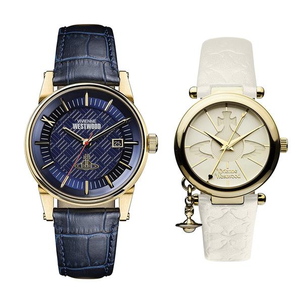 ヴィヴィアン ウエストウッド 腕時計 ペアウォッチ メンズ レディース ダークブルー ホワイト レザー 革ベルト VV065BLBLVV006WHWH ペアセット カップル ブランド 誕生日 お祝い プレゼント ギフト