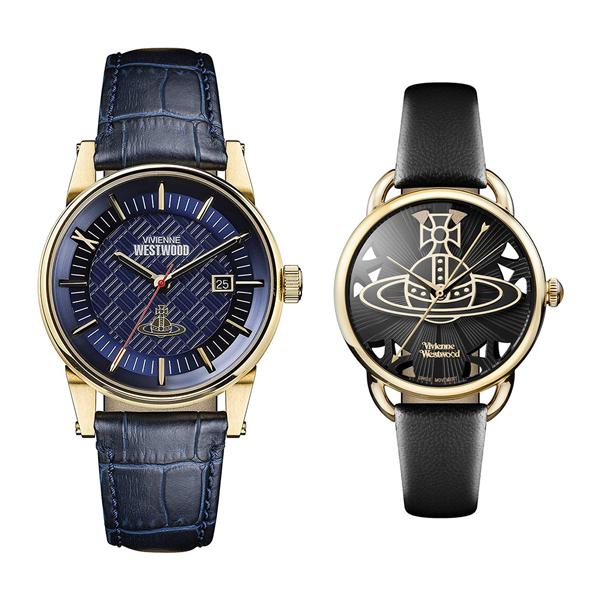 ヴィヴィアン ウエストウッド 腕時計 ペアウォッチ メンズ レディース ダークブルー ブラック レザー 革ベルト VV065BLBLVV163BKBK ペアセット カップル ブランド 【仕事用】 誕生日 お祝い プレゼント ギフト お洒落