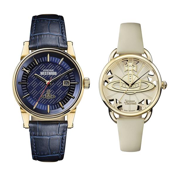 ヴィヴィアン ウエストウッド 腕時計 ペアウォッチ メンズ レディース ダークブルー グレー レザー 革ベルト VV065BLBLVV163CMCM ペアセット カップル ブランド 【仕事用】 誕生日 お祝い プレゼント ギフト お洒落