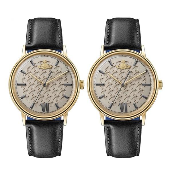 8621f89022 ヴィヴィアン ウエストウッド ペアウォッチ 時計 同サイズ 2本セット 千鳥模様 ゴールド 黒 革 ...