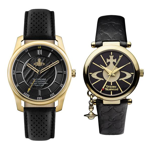 ヴィヴィアン ウエストウッド 腕時計 ペアウォッチ メンズ レディース チャーム付 ゴールド ブラック レザー 革ベルト VV185GDBKVV006BKGD ペアセット カップル ブランド 誕生日 お祝い プレゼント ギフト