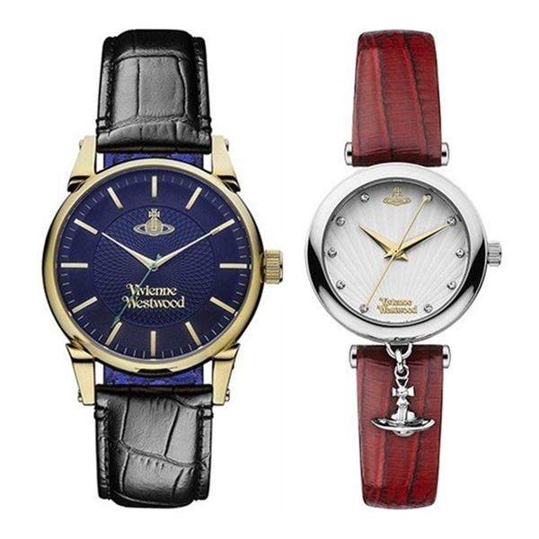 【ペアボックス付き】ヴィヴィアン ウエストウッド 腕時計 ペアウォッチ メンズ レディース 2本組 ブラック レッド 革 とけい ギフト VV065NVBKVV108WHRD ペアセット カップル ブランド 誕生日 お祝い プレゼント ギフト