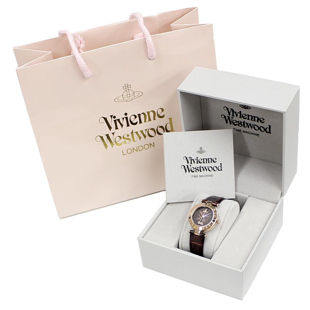 【ヴィヴィアン 時計 ショッパー付き】無料特典付き!ヴィヴィアン ウエストウッド 時計 レディース 腕時計 タイムマシン ローズゴールド ダークブラウン クロコ レザー VV092BRBR ビジネス 女性 ブランド 時計 誕生日 お祝い プレゼント ギフト