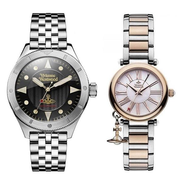 【ペアボックス付き】ヴィヴィアン ウエストウッド 腕時計 ペアウォッチ メンズ レディース 2本組 ブレスレット とけい ギフト VV160BKSLVV006PRSSL ペアセット カップル ブランド 誕生日 お祝い プレゼント ギフト