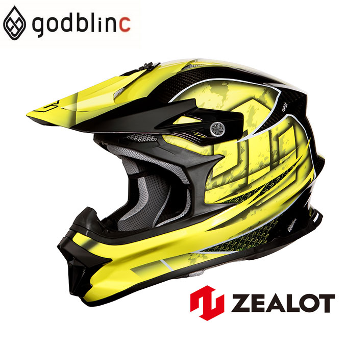 ZEALOT ジーロット オフロードヘルメット カーボン フルフェイス MadJumper2 マッドジャンパー2 CARBON HYBRID STD GRAPHIC YELLOW グラフィックイエロー S M L XL XXL godblinc ゴッドブリンク