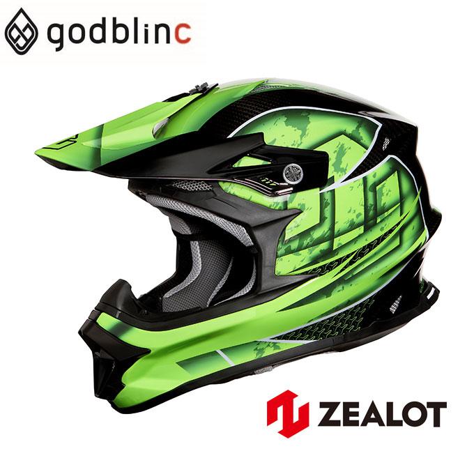 ZEALOT ジーロット オフロードヘルメット カーボン フルフェイス MadJumper2 マッドジャンパー2 CARBON HYBRID STD GRAPHIC GREEN グラフィックグリーン S M L XL XXL godblinc ゴッドブリンク