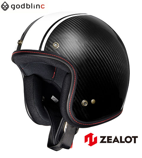 ZEALOT ジーロット ジェットヘルメット カーボン 軽量 FlyboyJet フライボーイジェット CARBON HYBLID STD WHITE STRIPE M L XL godblinc ゴッドブリンク