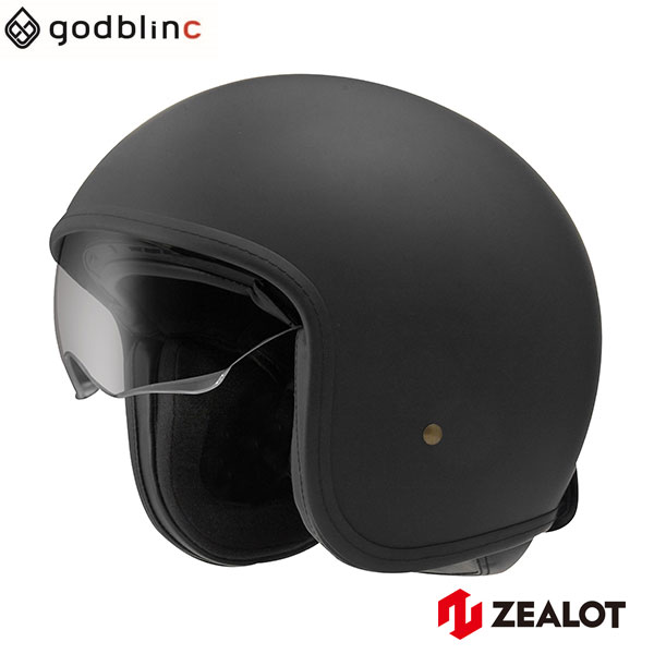 ZEALOT ジーロット ジェットヘルメット NV InnerShield Jet NVインナーシールドジェット MATT BLACK XS S M L godblinc ゴッドブリンク