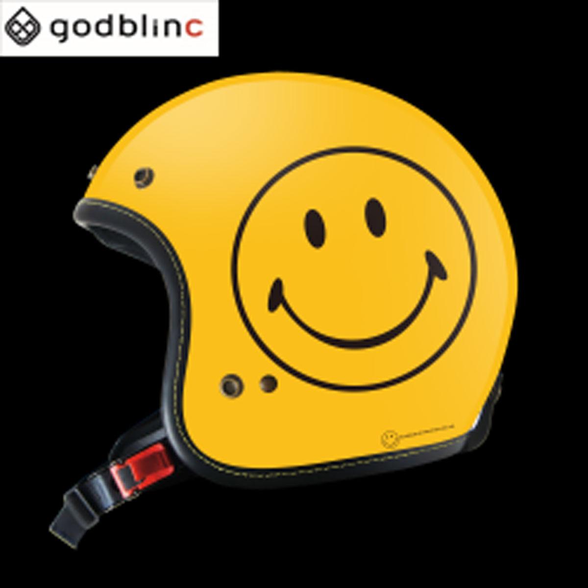 ジェットヘルメット SmileyFace限定オリジナルジェット YELLOW M L XL godblinc ゴッドブリンク