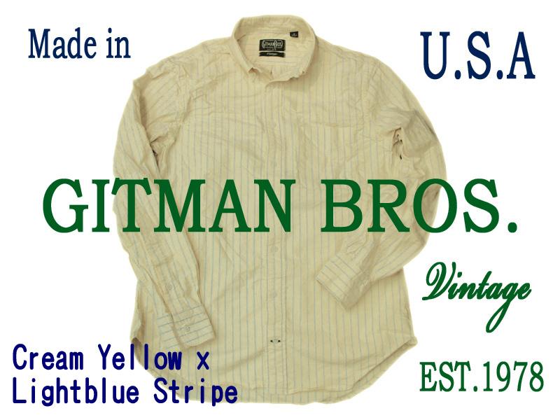 【送料無料】ギットマン ブラザース ストライプ BDシャツ イエロー ギットマン ボタンダウンシャツ メンズボタンダウン ストライプシャツ メンズ アメカジ ボタンダウン おしゃれ 綿100% コットン100%