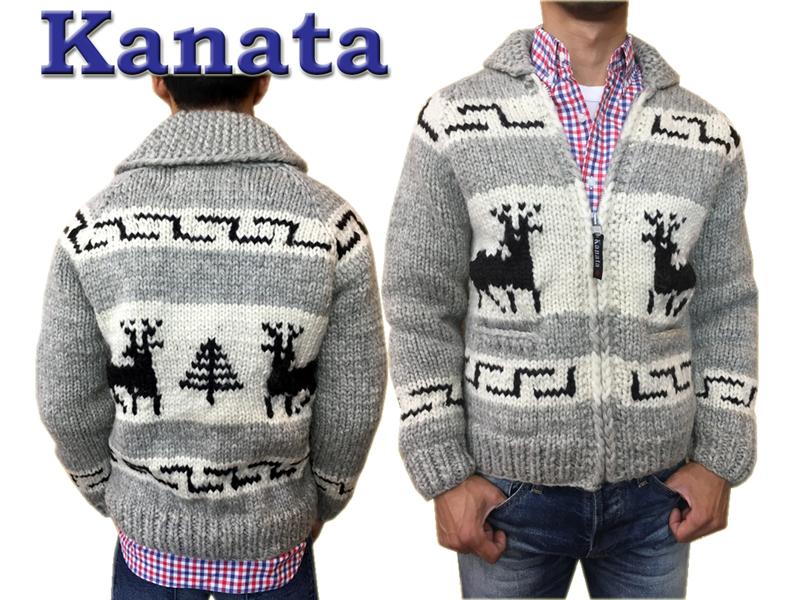 Kanata カウチンセーター メンズ カウチンニット カウチン セーター ニット カナタ 送料無料 #30 Deer ライトグレイ プレゼントに最適!