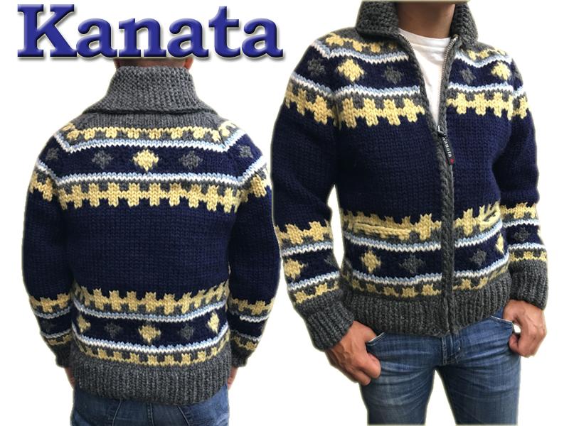 Kanata カウチンセーター 送料無料 代引き手数料無料 手編み メンズ カウチンニット カウチン セーター ニット カナタ プレゼントに最適 ネイビーxチャコール