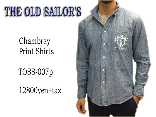 THE OLD SAILOR'S オールドセイラーズ シャンブレープリントシャツ送料無料 代引き手数料無料