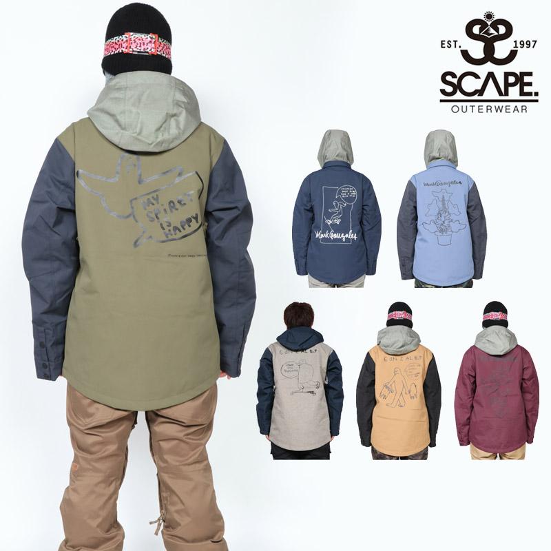 18-19 新作 SCAPE エスケープ ウェア ジャケット メンズ EQUALIZE JACKET スノーボードウェア スノボ 711-183-08