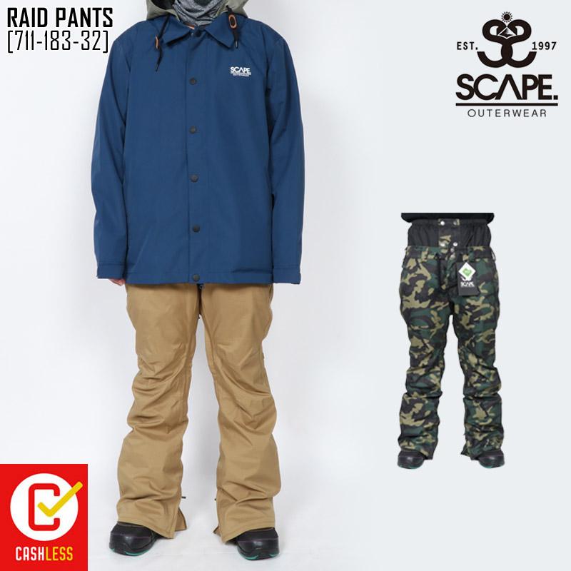 45%OFF セール SALE エスケープ SCAPE ライド パンツ RAID PANTS ウェア スノボ 711-183-32 メンズ