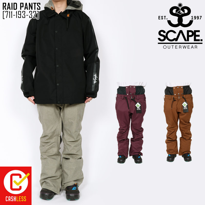 19-20 秋冬 新作 エスケープ SCAPE ライド パンツ RAID PANTS ウェア スノボ 711-193-32 メンズ
