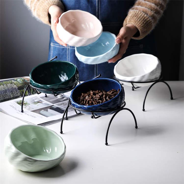 ペット食器台 皿 餌入れ スタンド 陶器 フードボウル 猫 ペット 食器 お水入れ 猫ボウル 犬 セット 容器 給水 給食器 動物 お皿 シンプル CW030