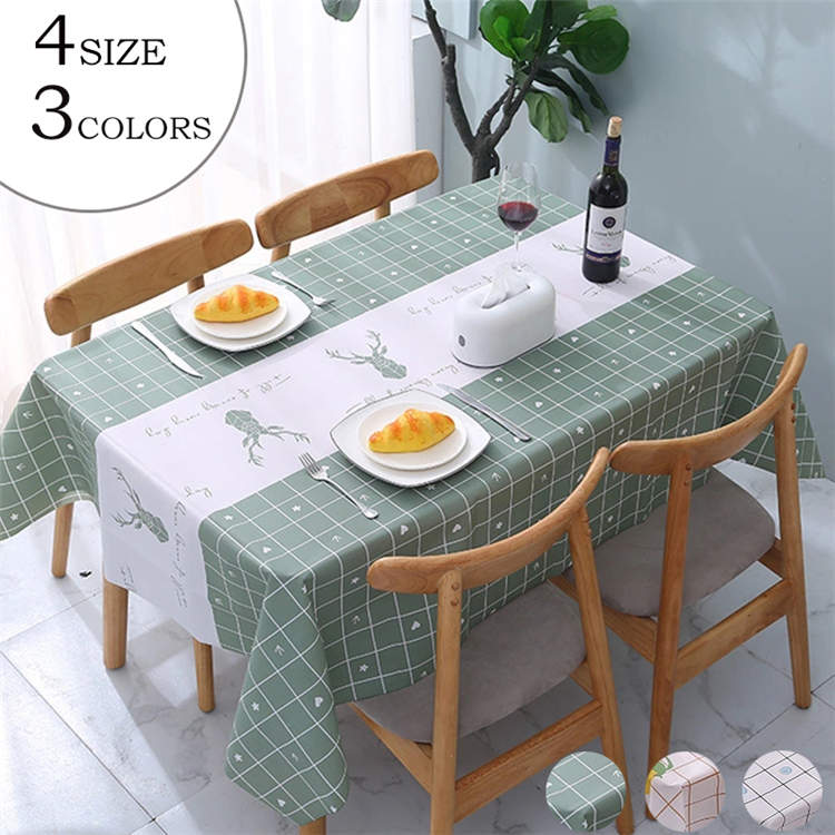 テーブルクロス 北欧 可愛い ビニール きれいめ 新作送料無料 PVC製 撥水 送料無料 3色 zb001 汚れ防止 チェック 長方形 家庭用 おしゃれ 4サイズ テーブルマット 人気上昇中
