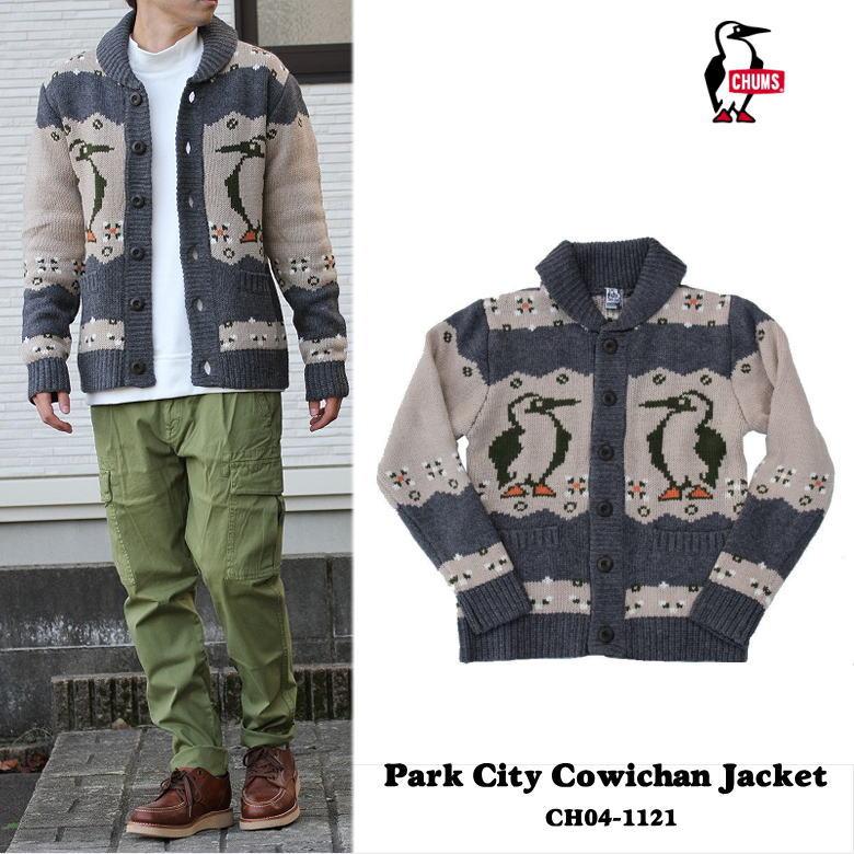 CHUMS Park City Cowichan Jacket カウチンジャケット チャムス CH04-1121 H/Charcoal ヘザーチャコール ブーバードビー